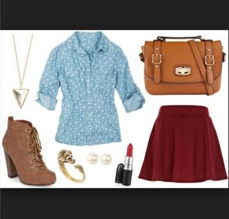 shoes shirt bag high heels skirt