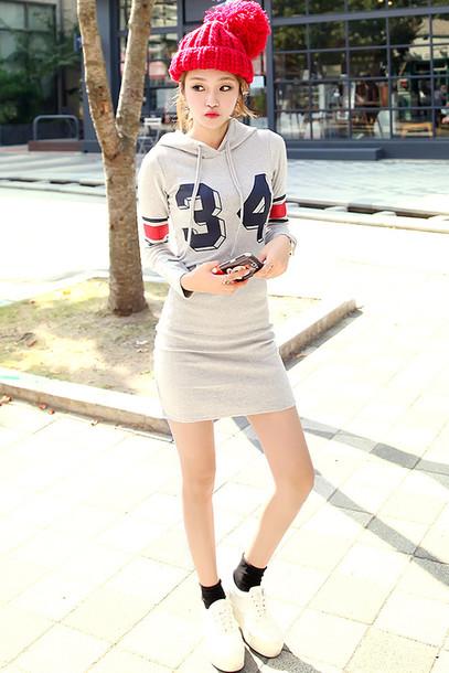 dress sweatshirt hoodie grey mini dress korean fashion korean style korean dress sports dress ulzzang ulzzang style number hoodie sexy hoodie tight hoodie