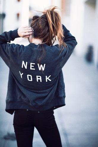 jacket navy new york city grey sweater bomber jacket