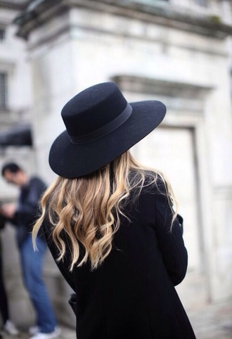 hat black coachella black hat tumblr cute fashion floppy hat felt hat brimmed hat large brimmed hat