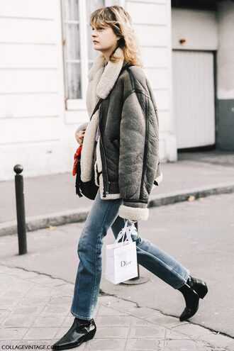 jacket tumblr fashion week 2017 streetstyle grey jacket shearling jacket shearling denim jeans blue jeans boots black boots ankle boots mid heel boots pointed boots fall outfits gender neutral no gender