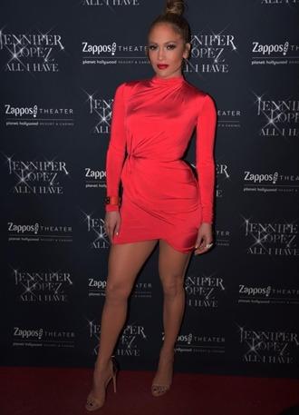 dress mini dress red dress red jennifer lopez bodycon dress long sleeve dress sandals sandal heels