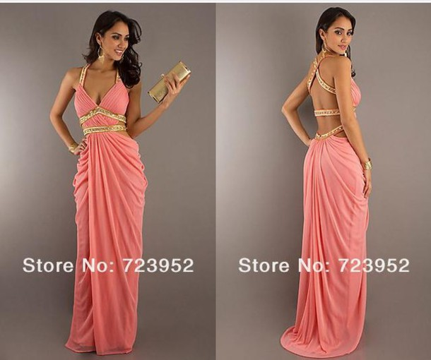 dress backless dress peach prom dress 2014 prom dresses