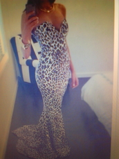 dress,white dress,leopard print,leopard print dress,mermaid prom dress,long gown,gown,leopard dress,maxi dress,long dress,sweetheart dress