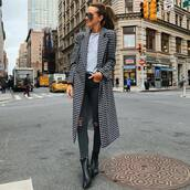 coat,checkered,blouse,skinny jeans,ripped jeans,black boots,mid heel boots,sunglasses