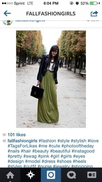 skirt green long skirt belt belted maxi dress
