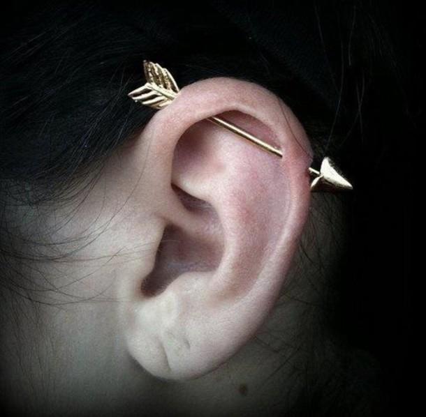 jewels piercing gold earrings arrow industrial jewelry