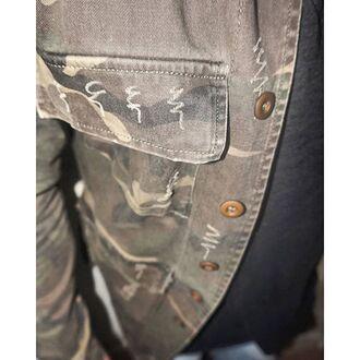 jacket maniere de voir camouflage shirt overcoat ripped details 36683