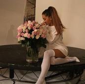 dress,ariana grande,sweater dress,sweater,socks