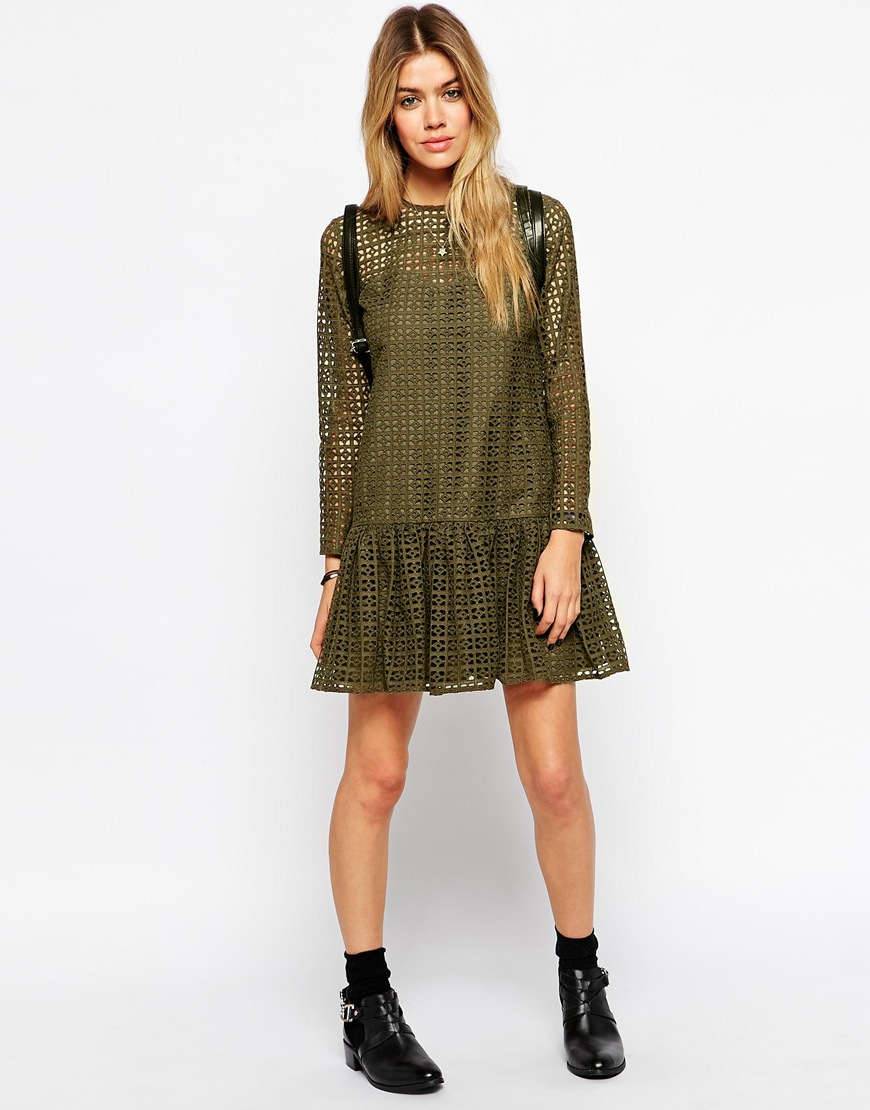 Asos petite shift dress in broiderie at asos.com