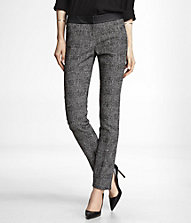 BOUCLE PLAID SLIM LEG COLUMNIST PANT | Express