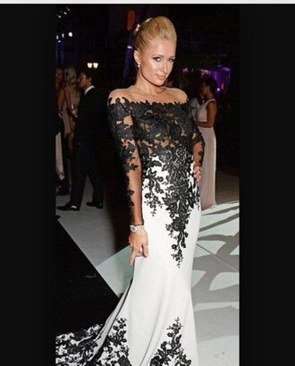 dress white black lace paris hilton