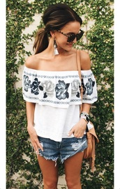 top,off the shoulder,white top,summer,shorts,High waisted shorts,floral,summer outfits,summer fashions,dressy,going out,summer day,spring,spring outfits,warm,beach,city outfits,summer holidays,spring vacation,vacation fashion,printed t-shirt,white t-shirt,ripped shorts,white blouse,t-shirt,off the shoulder top,roses