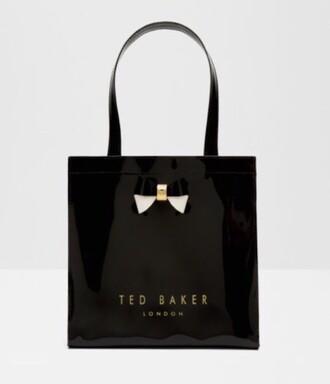 bag ted baker black lunch bag shiny