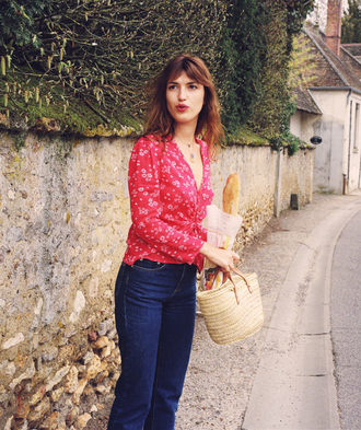 shirt rouje floral shirt red shirt v neck french girl style jeanne damas jeans denim blue jeans bag straw bag necklace rouje.com