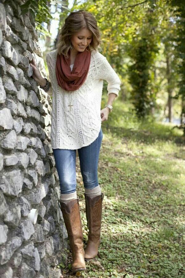 sweater jeans scarf shoes knitted sweater white sweater beige sweater