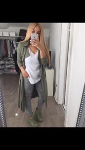 sweater,olive green,cardigan,long cardigan,adidas,style,tumblr,long shirt,blouse,jacket
