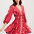Red Veck 3/4 Sleeve Drawstring Waist Embroidered Dress