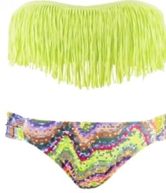 swimwear fringe bikini fringe bikini neon yellow multi-colored
