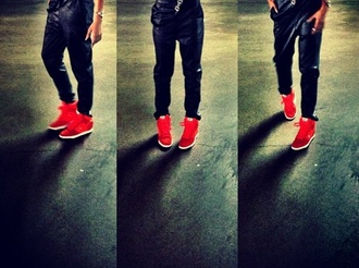 pants jeans zendaya leather dungarees shirt top shoes red shoes jumpsuit