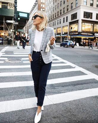 jacket plaid blazer plaid blazer grey blazer pants blue pants t-shirt white t-shirt streetstyle shoes white shoes