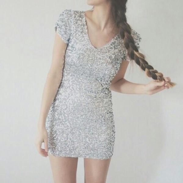 silver dress silver cute dress