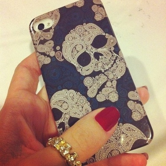 nail polish jewels iphone blue silver phone case skulls