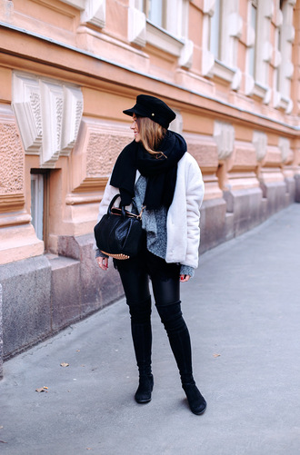 jacket tumblr white jacket winter outfits hat fisherman cap fuzzy jacket leggings black leggings leather leggings boots black boots over the knee boots bag black bag scarf knitted scarf
