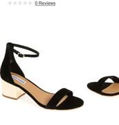 shoes,strap sandals,mid heel sandals,black,ankle strap heels,steve madden