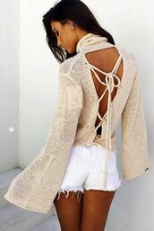 sweater,nudebeige,knit,knitwear,sexy,open back,lace up,lace up jumper,jumper,backless,nude top,nude pullover,hollow out,knit blouse,beige blouse,bell sleeves,fashion,casual,casual sweater,casual pullover,beige pullover,turtleneck,turtleneck jumper,style,lookbook,girly,girly wishlist,preppy,tumblr,tumblr sweater,tumblr outfit,winter outfits,fall outfits,long sleeves,cut-out,cute outfits,loose sweater,oversized sweater,pretty,fashion top,women casual top,moraki,turtleneck sweater