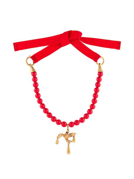 women beaded necklace cotton red jewels