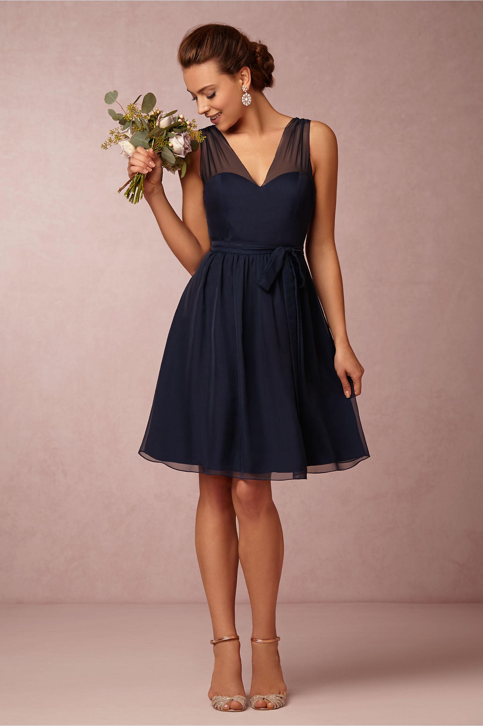 V neck knee length navy chiffon bridesmaid dress sleeveless v neck knee length navy chiffon bridesmaid dress ombrellifo Choice Image