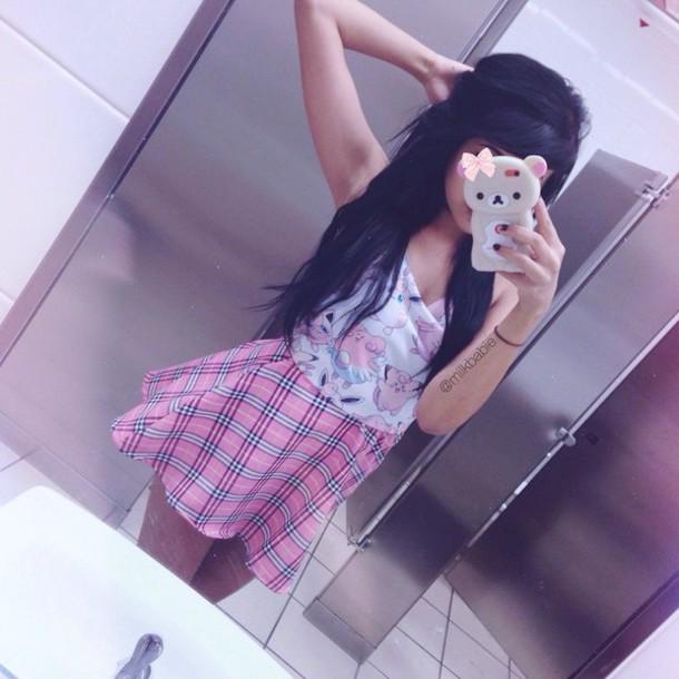 tank top kawaii pastel pink skirt
