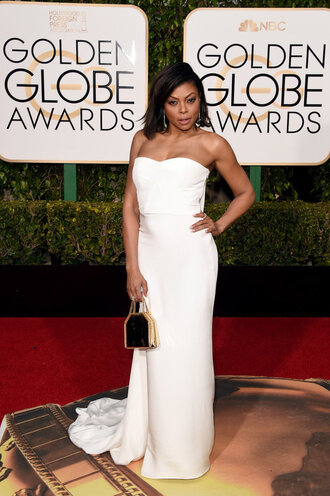 dress long prom dress long dress gown prom dress golden globes 2016 bustier dress white dress red carpet dress wedding dress clutch taraji p henson bustier wedding dress