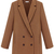 Camel Notch Lapel Long Sleeve Double Breasted Coat - Sheinside.com