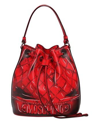 bag bucket bag leather red