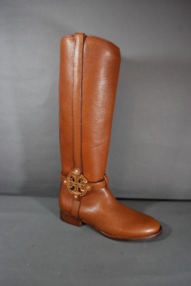 Tory Burch Amanda Riding Boots Tumbled Leather Almond 9 9.5 10 NIB Authentic