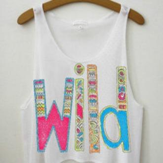 shirt aztec white blue pink green orange yellow wild