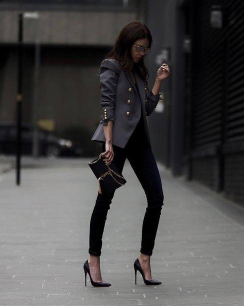 abc600a1a7f shoes tumblr blazer grey blazer jeans denim black jeans black skinny jeans  skinny jeans pumps pointed