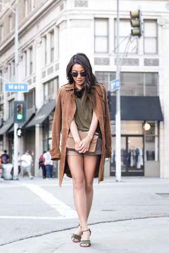 wendy's lookbook blogger coat cuffed shorts suede coat suede suede bag chloe bag suede shorts brown coat