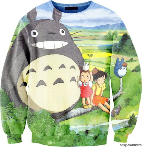 cute colorful totoro totoro sweatshirt sweater