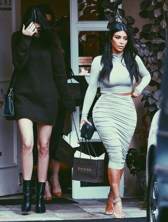 dress kim kardashians kendall jenner kylie jenner khloe kourtney grey nude taupe greige two-piece co ord skirt midi top crop long sleeves turtleneck heels cream black white shopping long hair brown hair boots sandals tan shoes