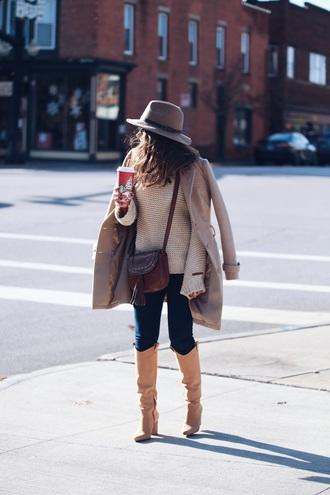 fashionably kay blogger jacket sweater jeans shoes bag hat felt hat crossbody bag knee high boots beige sweater