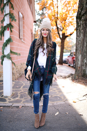 southern curls and pearls,blogger,jeans,t-shirt,jewels,bag,sweater,hat,shoes,beanie,ankle boots,shoulder bag,tartan scarf,fall outfits