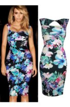 Modajay Womens Clothing - Miss High Street! Celebrity Kim Kardashian Sweetheart Floral Print Pencil Dress.