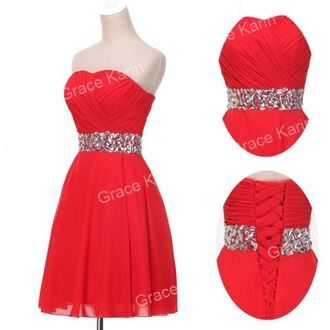 dress bridesmaid red glitter sequins formal gown strapless