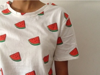 white t-shirt print watermelon print fruits summer food graphic tee