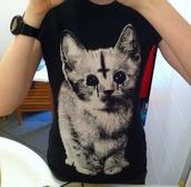 shirt,cats,black,satan,goth,upside down cross