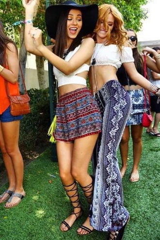 skirt shoes tank top shorts top pants boho coachella festival bella thorne victoria justice sandals gladiators hat shirt