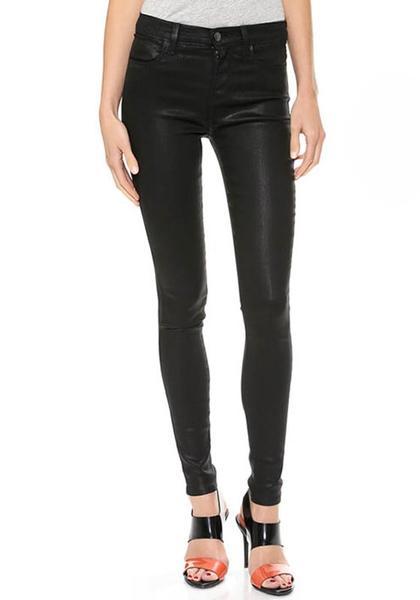 Black PU Leather Skinny Pants